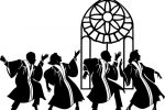 Gospel singers and stained glass window